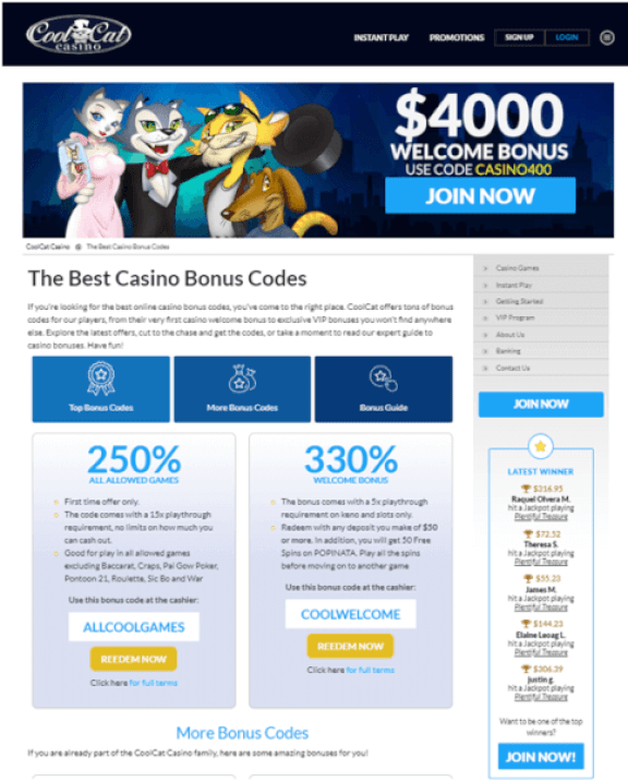 Coolcatcasino bonus offers
