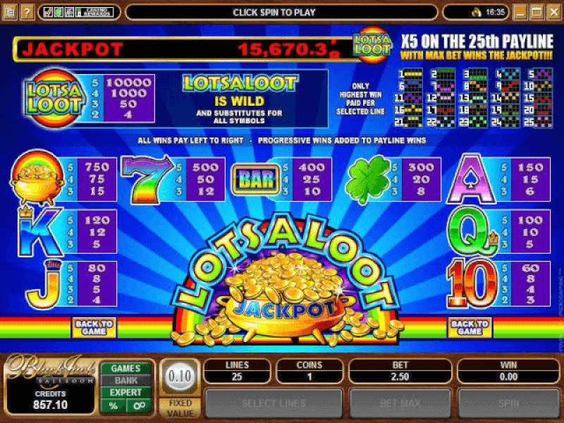 Lots a loot slot game paytable