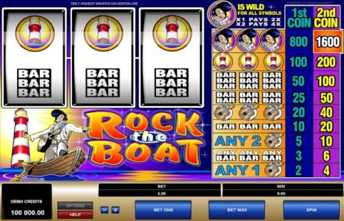 Rock the boat slot paytable