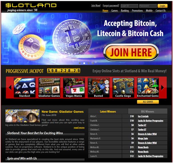 Slotland casino Bitcoin bonus