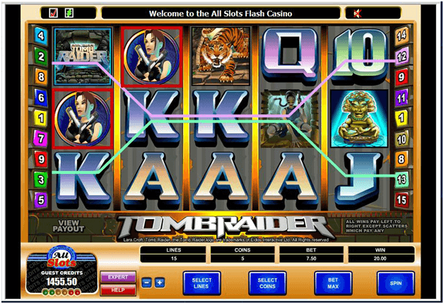 Tomb Raider slots game features