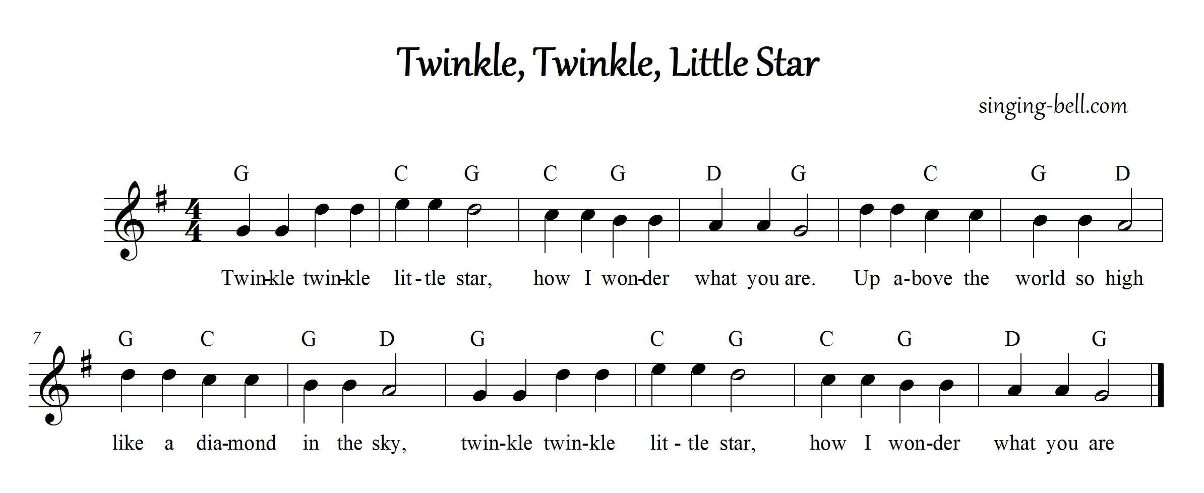 Free Nursery Rhymes Twinkle Twinkle Little Star
