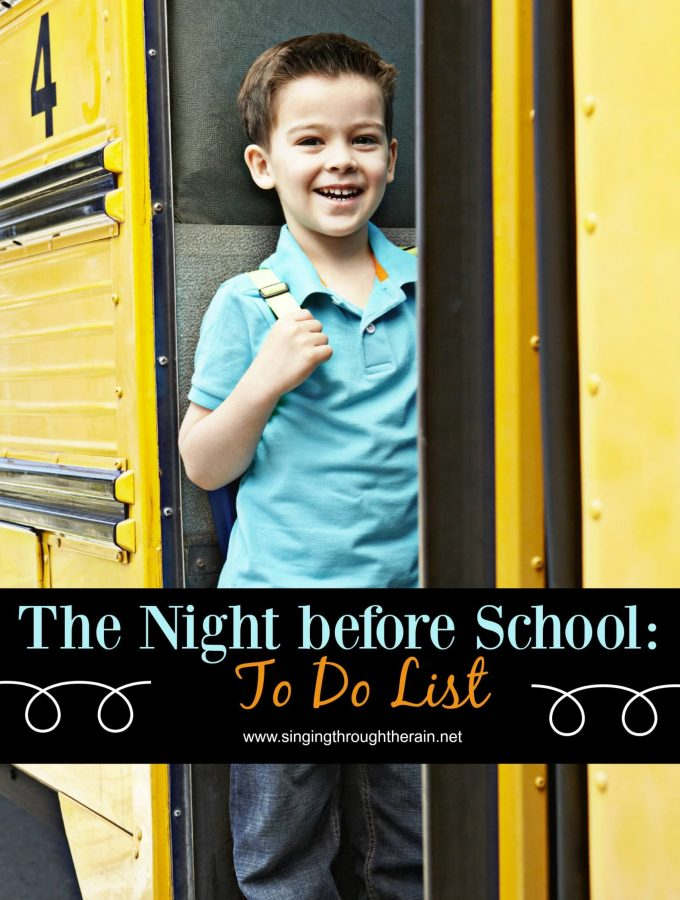 The Night Before School: To Do List