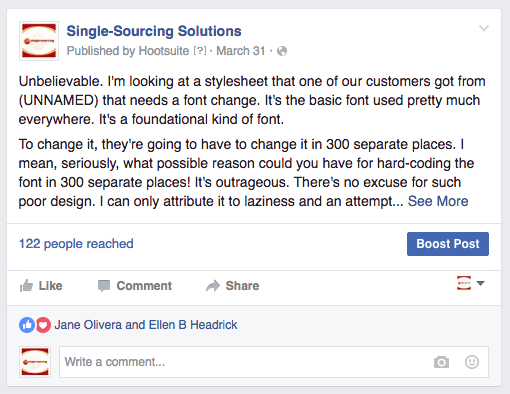 Facebook post: saw a stylesheet delivered by a competitor that was purposely overly-complex in design