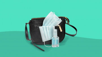 A purse with masks and hand sanitizer represent preparing for coronavirus