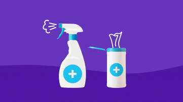 A spray bottle and wipes represent how healthcare workers can protect against coronavirus