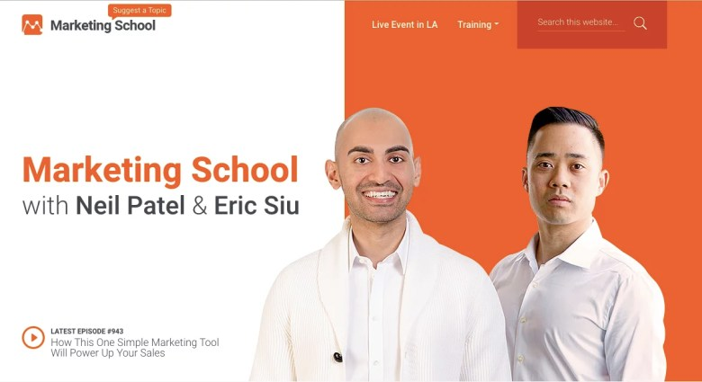 Scuola di marketing con Neil Patel ed Eric Siu