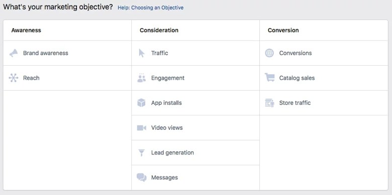 Obiettivi di marketing di IG FB