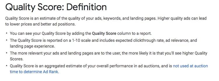 Definizione del punteggio di qualità di Google Ads