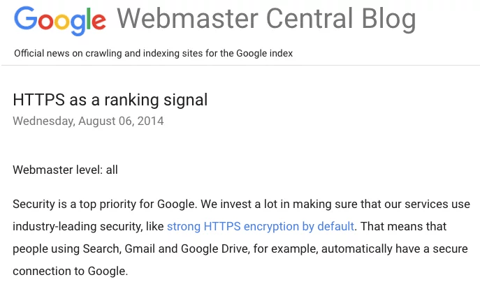Google HTTPS as a ranking signal