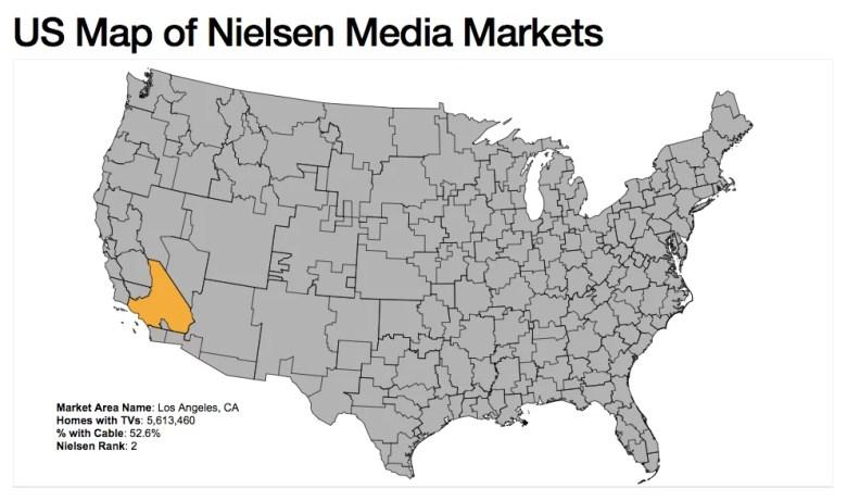 Mappa degli Stati Uniti dei mercati dei media Nielsen