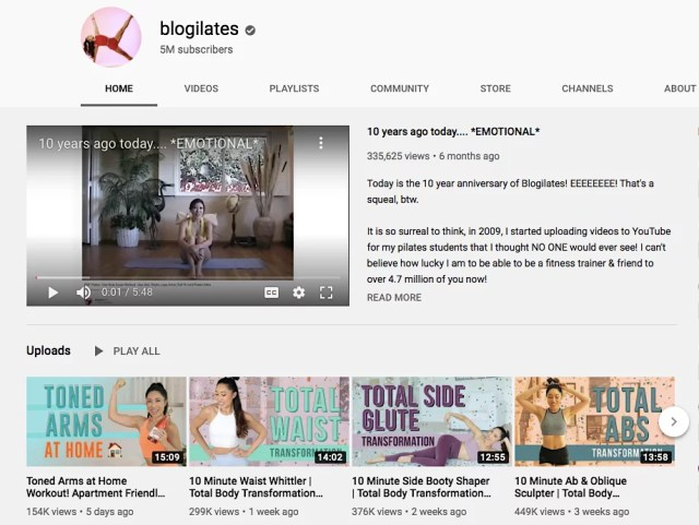 Blogilates YT