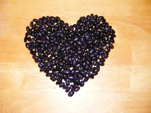 Beans in a heart shape