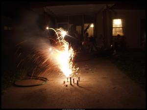 Small fireworks outside a home.