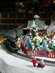 Christmas decorating - train around small village
