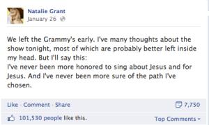 Natalie Grant Grammy Facebook Post