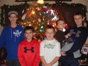 Single Mom Photos of Five Boys at Christmas