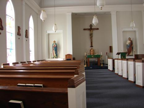 Isolated in empty Catholic church