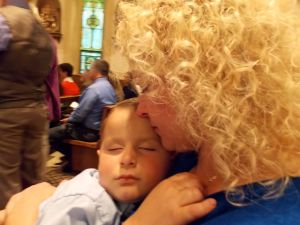 Kaleb asleep in church