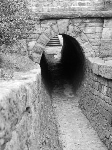 Black and White photo of tunnel