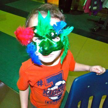 Kaleb in Mardi Gras Mask