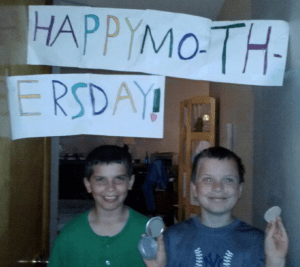 George & Noah - Happy Mother's Day sign