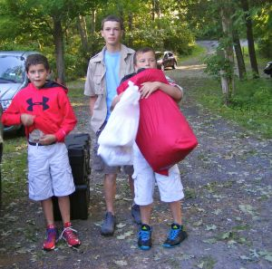 Ready to leave for Boy Scout Camp - George, Matt, & Noah