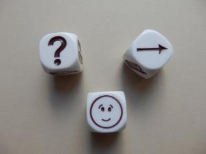 dice with question mark, face, arrow