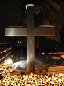 Cross and candle vigil