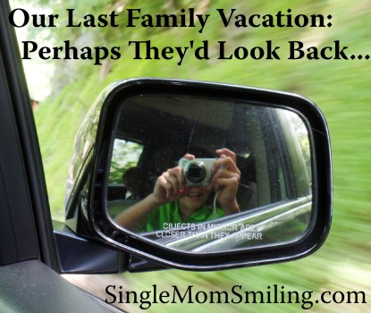 Our Last Family Vacation - Perhaps They'd Look Back - SIngle Mom Smiling Photo of Noah in Car Mirror