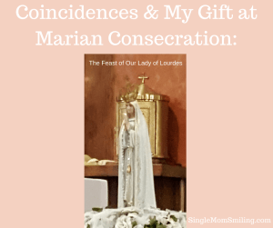 Mary and Rosary Beads in front of Tabernacle Marian Consecration Feast of Our Lady Lourdes