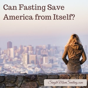 Can Fasting Save America from Itself? Woman on wall overlooking city