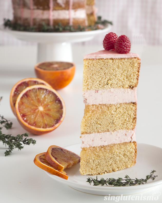 tarta-de-frambuesa-naranja-sanguina-tomillo-sin-gluten