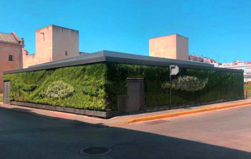 Jardín vertical de sistema LeafSkin en San Fernando de Cádiz