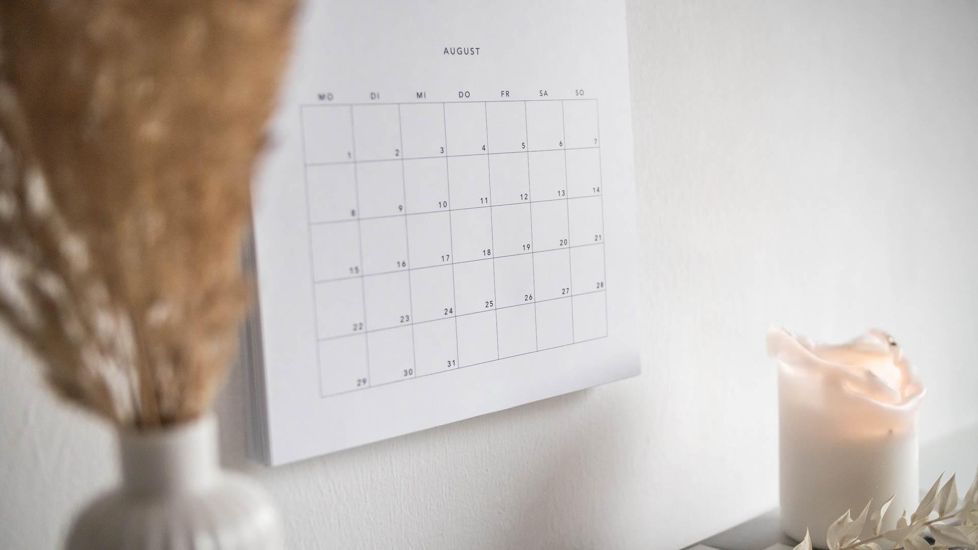 Wandkalender 2022 August