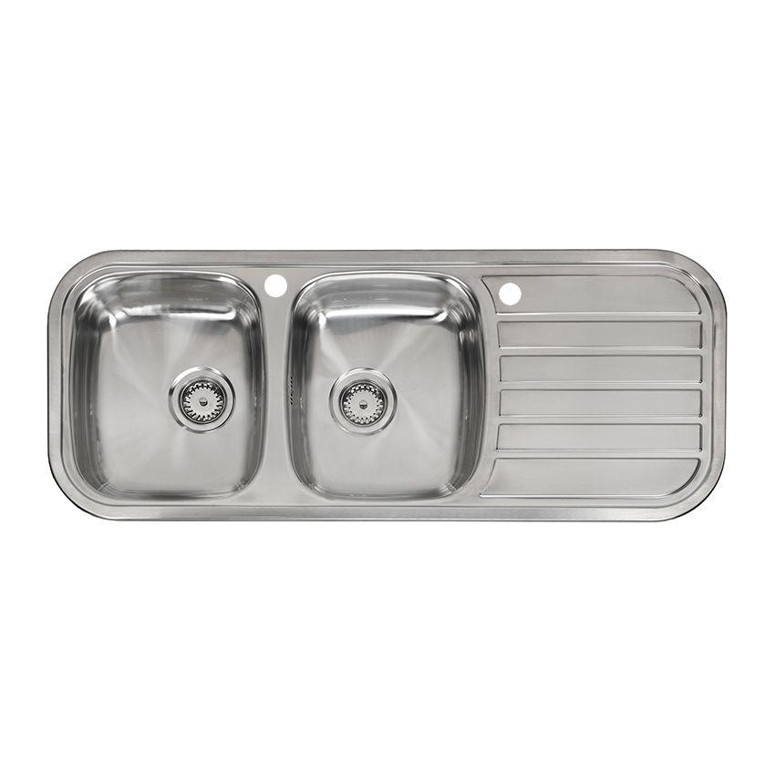 reginox regent 30 lux double bowl catering kitchen sink with drainer