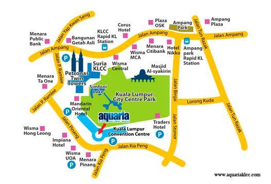 Mapa de Aquaria Qué ver y qué hacer en Kuala Lumpur Malasia