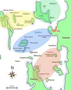 Mapa de Tours en El Nido