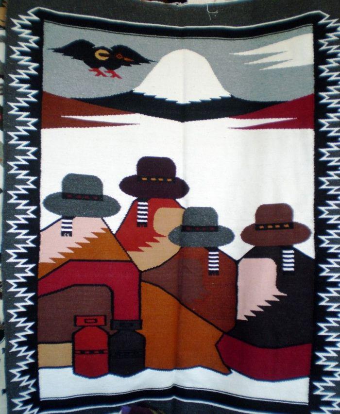 tela en mercado de Otavalo