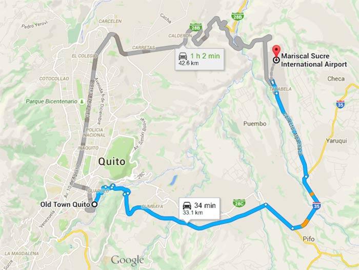 Mapa desde el aeropuerto de Quito al centro