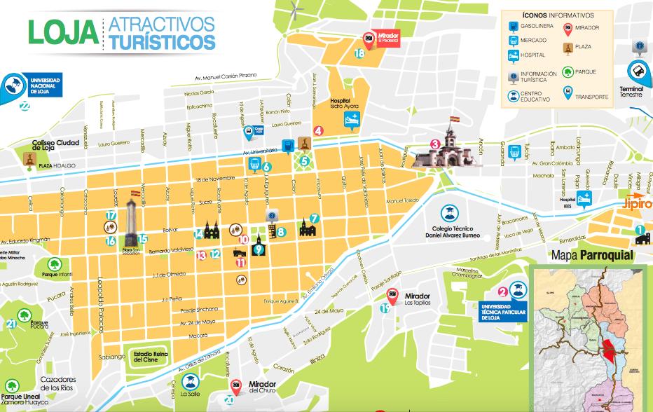 mapa turístico - qué ver en Loja Ecuador Sudamérica