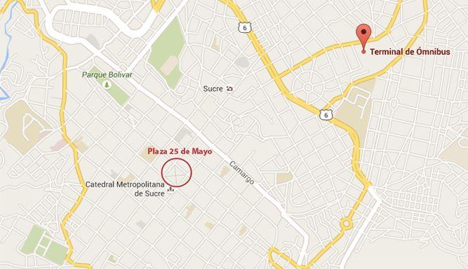 Mapa: estación de autobuses y Plaza 25 de mayo (central) qué ver y qué hacer en Sucre Bolivia