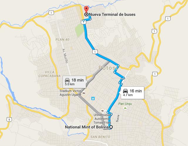 Mapa que indica la distancia entre la Nueva Terminal de Autobuses y el centro histórico de Potosi