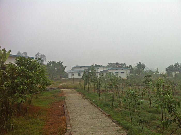Vistas del hall central de meditación desde el comedor*