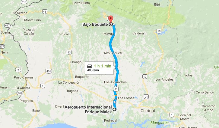 mapa para llegar a boquete