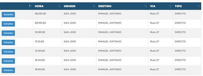 horarios de buses de San José a Manuel Antonio