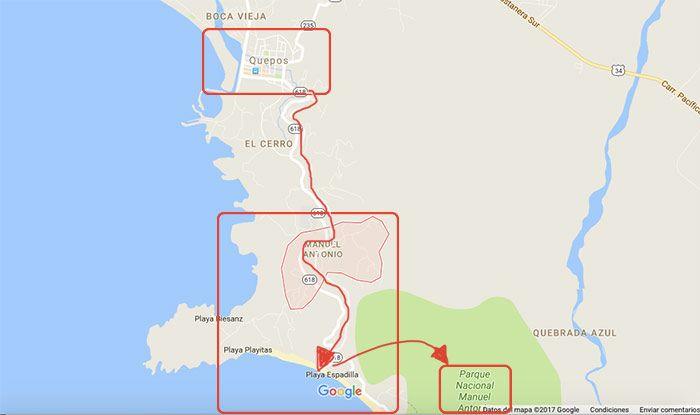 qué ver y qué hacer en Manuel Antonio - visitar parque nacional Manuel Antonio - mapa