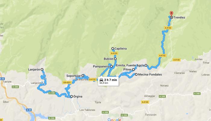 mapa de Ruta por la Alpujarra Granadina