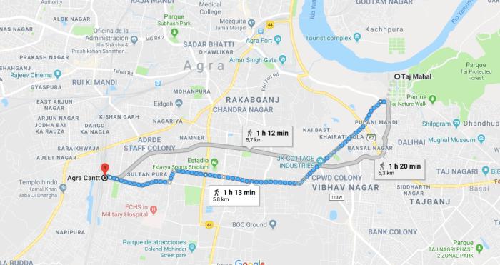mapa cómo llegar el Taj Mahal - visitar el Taj Mahal