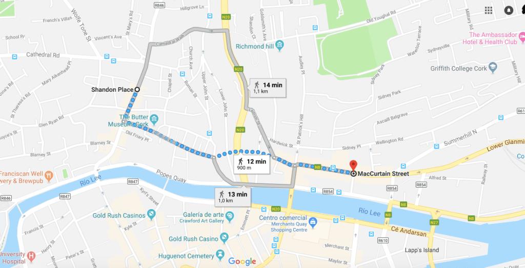 mapa de la ciudad de cork